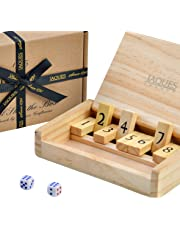 Jaques of London Travel Shut the Box - Pocket Size - Travel 9 Numbers Dice Games - Since 1795
