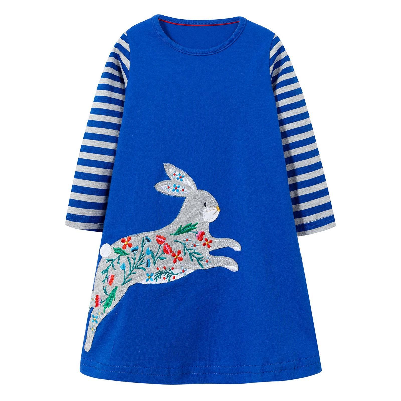 VIKITA Toddler Girl Bunny Loose Blue Long Sleeve Dress Baby Girls Winter Casual Dresses 1-8 Years JM7665, 2T