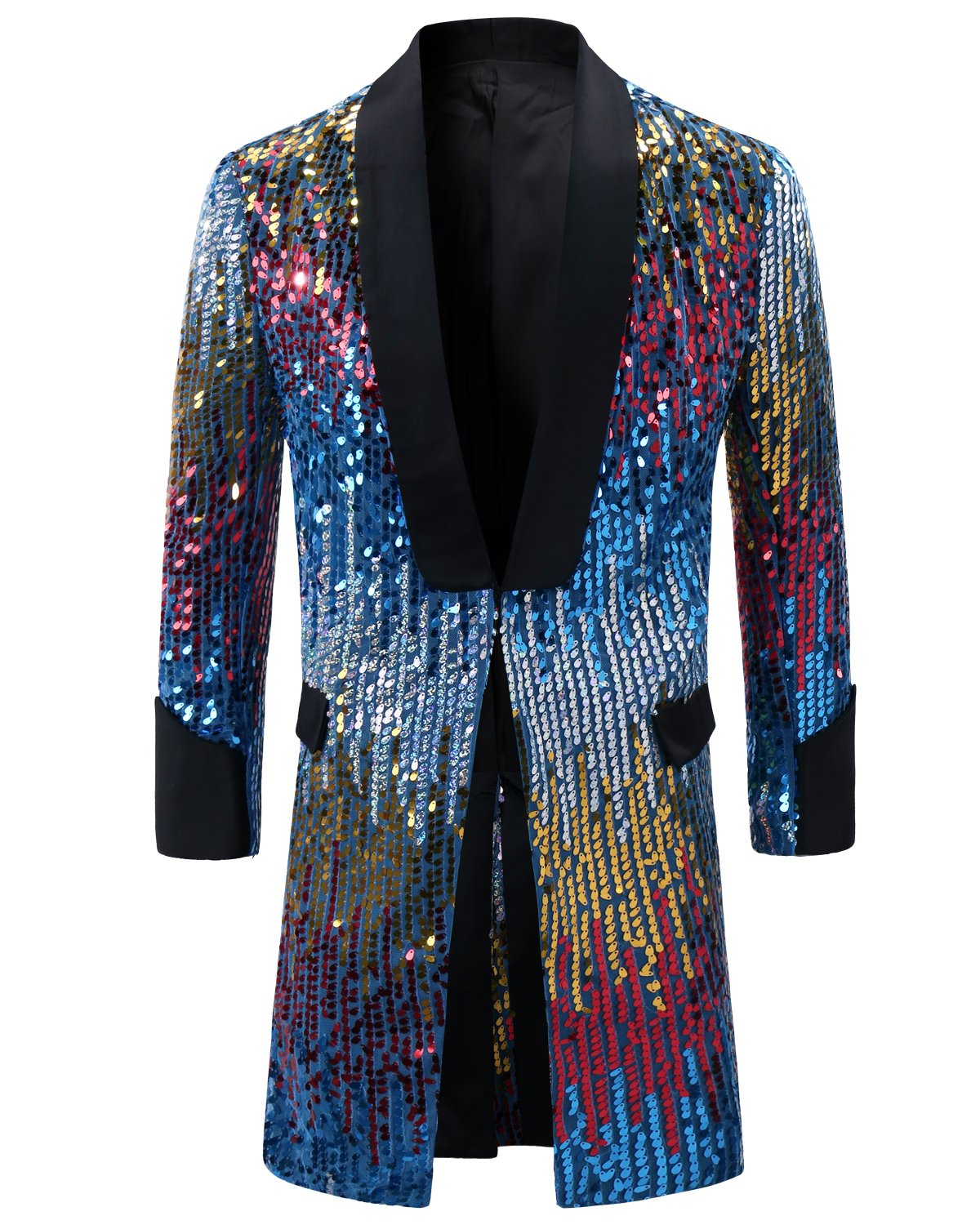 Cloudstyle Mens Tuxedo Single-Breasted Party Show Suit Sequins Punk Jacket Blazer Blue Medium