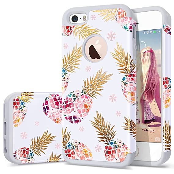 best sneakers 358dc 64687 iPhone 5 case Pineapple,iPhone 5s case,iPhone SE case,Fingic Slim Floral  Summer Pineapple Design Case for Girls Anti-Scratch&Slip Cover Hard PC Soft  ...