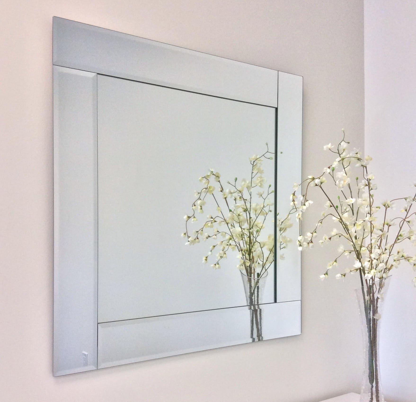 30'' Square Bevel Trim Overlay Decorative Wall Mirror