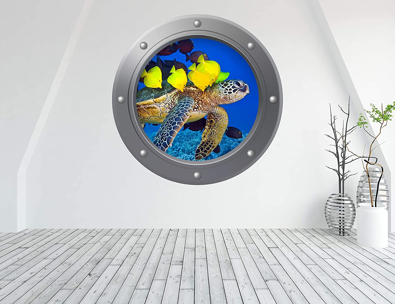 porthole 1112 Sticker trompe l/' oeil decorative tropical fish ref