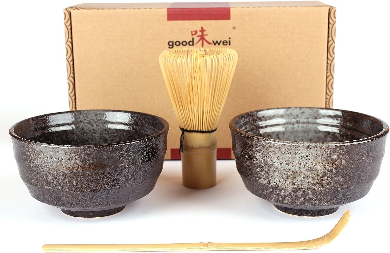 Goodwei - Juego de té Matcha japonés con Dos Cuencos de té Matcha de cerámica