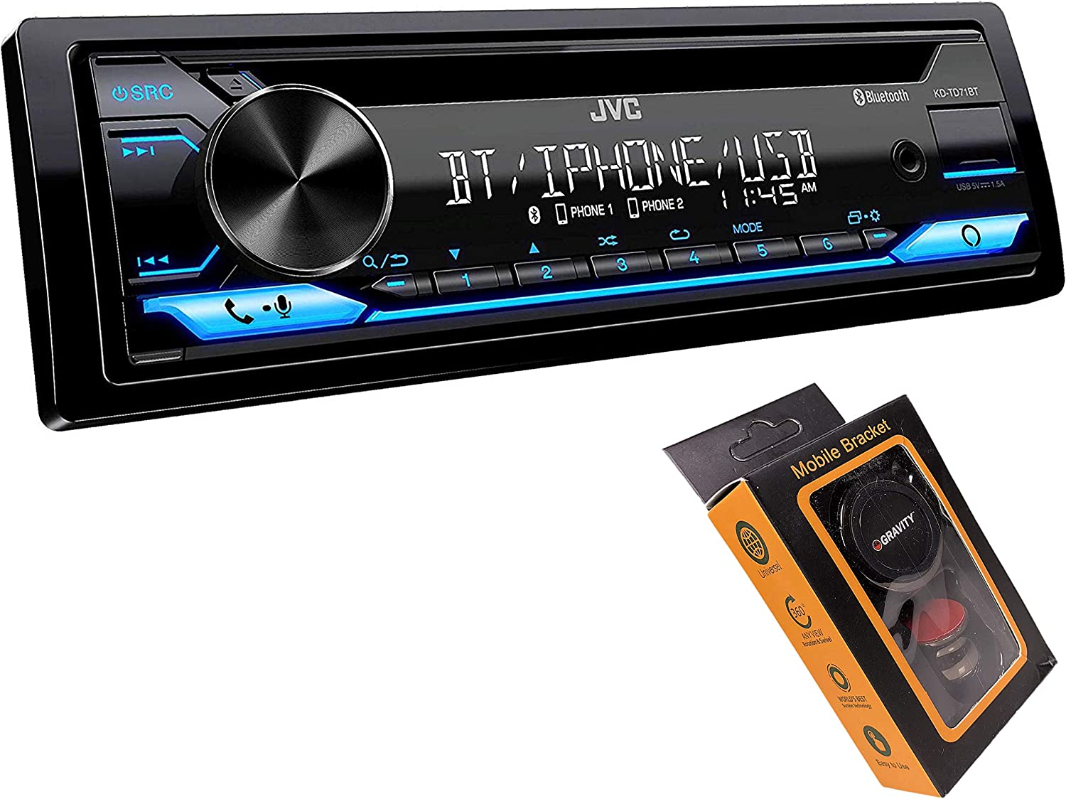 Alexa with Magnet Phone Holder JVC KD-TD71BT Front USB CD Receiver Featuring Bluetooth AUX