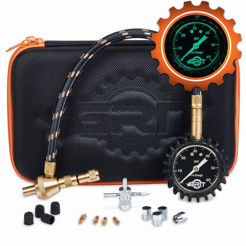 Rapid Air Down Tire Deflator Offroad Kit, PSI Tire Pressure Gauge [Glows in Dark] & Custom Foam Case + Chrome Caps & Valve Core Repair Tool | Quickly Deflate 4x4 Off Road Tires on Jeep, Truck, ATV