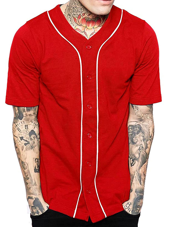 メンズ ベースボール ボタンタウン ジャージ ヒップスター ヒップホップ Tシャツ 1UPA01 B06XRLBFLL M|レッド/ホワイト レッド/ホワイト M