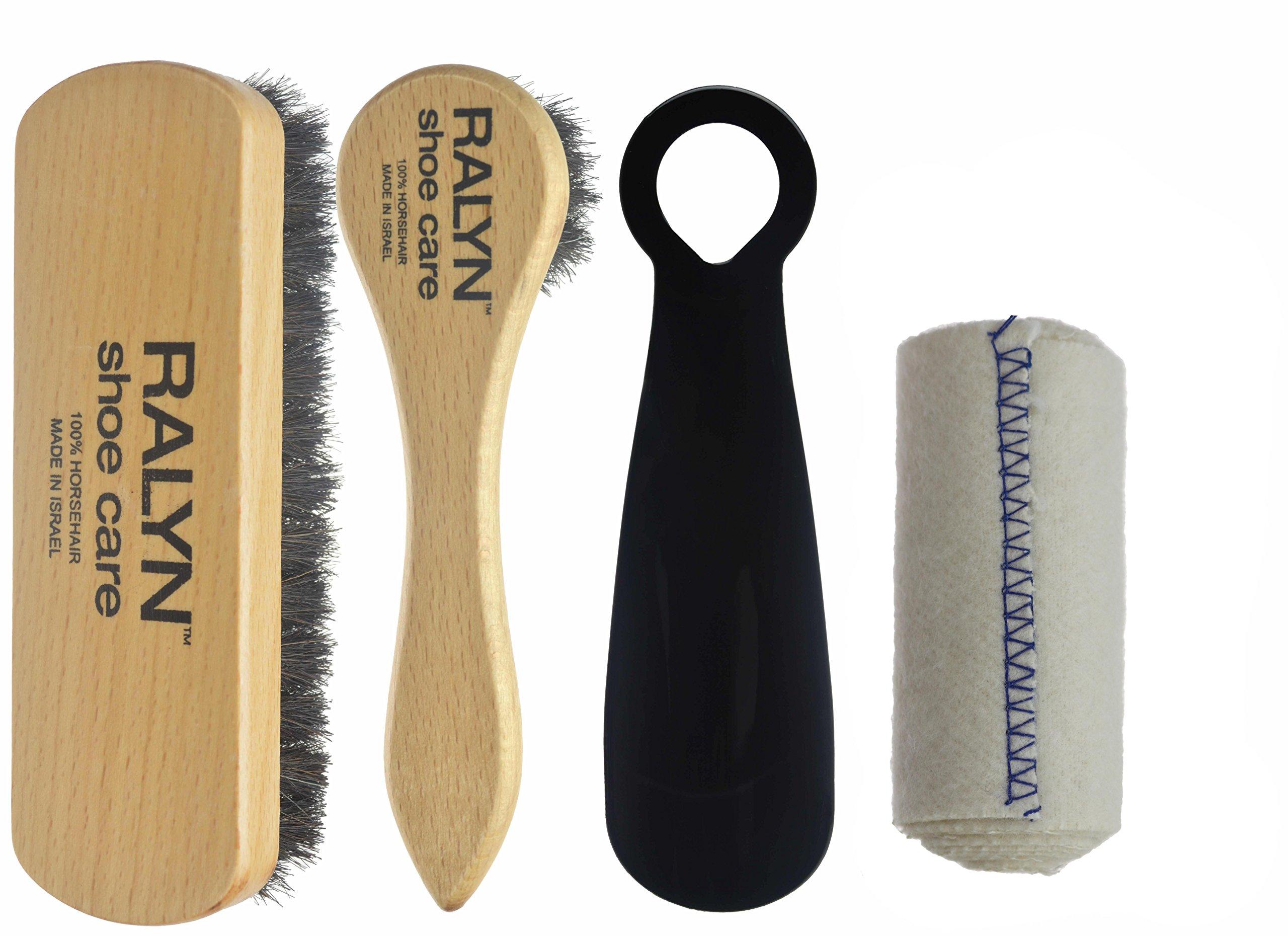 Travel Shoe Shine Kit. Dark Bristle 100% Horsehair Brush & Dauber. Shoe shine cloth. 5.5 IN. Shoe Horn. (BLACK)