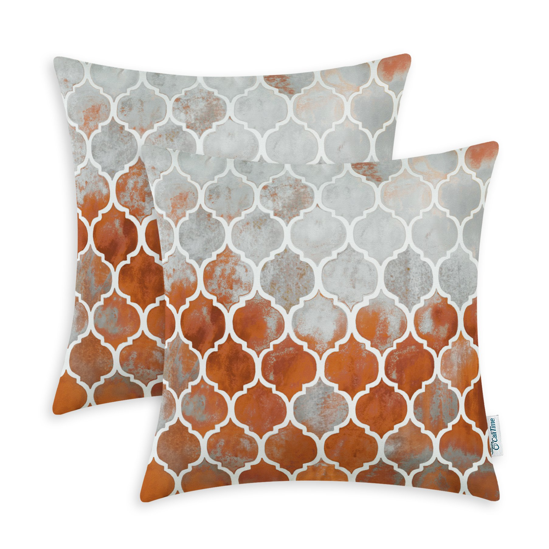CaliTime Pack of 2 Cozy Throw Pillow Cases Covers Couch Bed Sofa Manual Hand Painted Colorful Geometric Trellis Chain Print 20 X 20 Inches Main Grey Rust Red