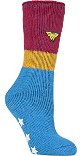 0ff358005 Heat Holders - Ladies Wonder Woman Novelty Warm Non Slip Thermal Slipper  Socks with Grips