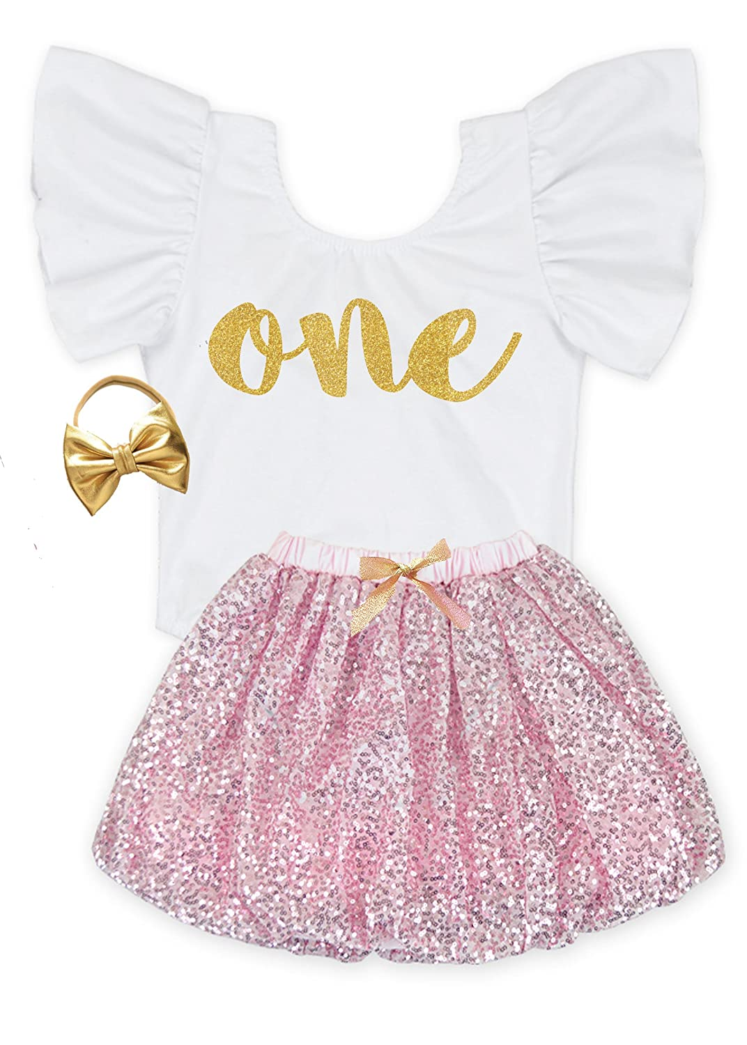 d8c290f9cad 3 PIECE BABY GIRLS BIRTHDAY OUTFIT- Each Package Include A White Flutter  Sleeve Leotard (No Snaps At The Bottom) with a Glitter One