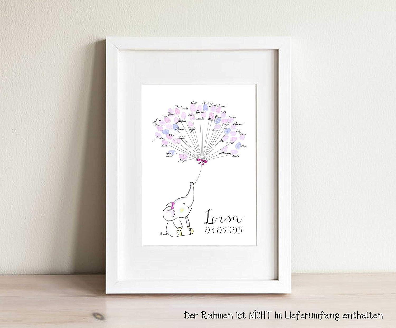 Geschenk personalisiert G/ästebuch A3 Taufe Geburt Fingerabdruck-Baum Kleine MAUS f/ür M/ädchen
