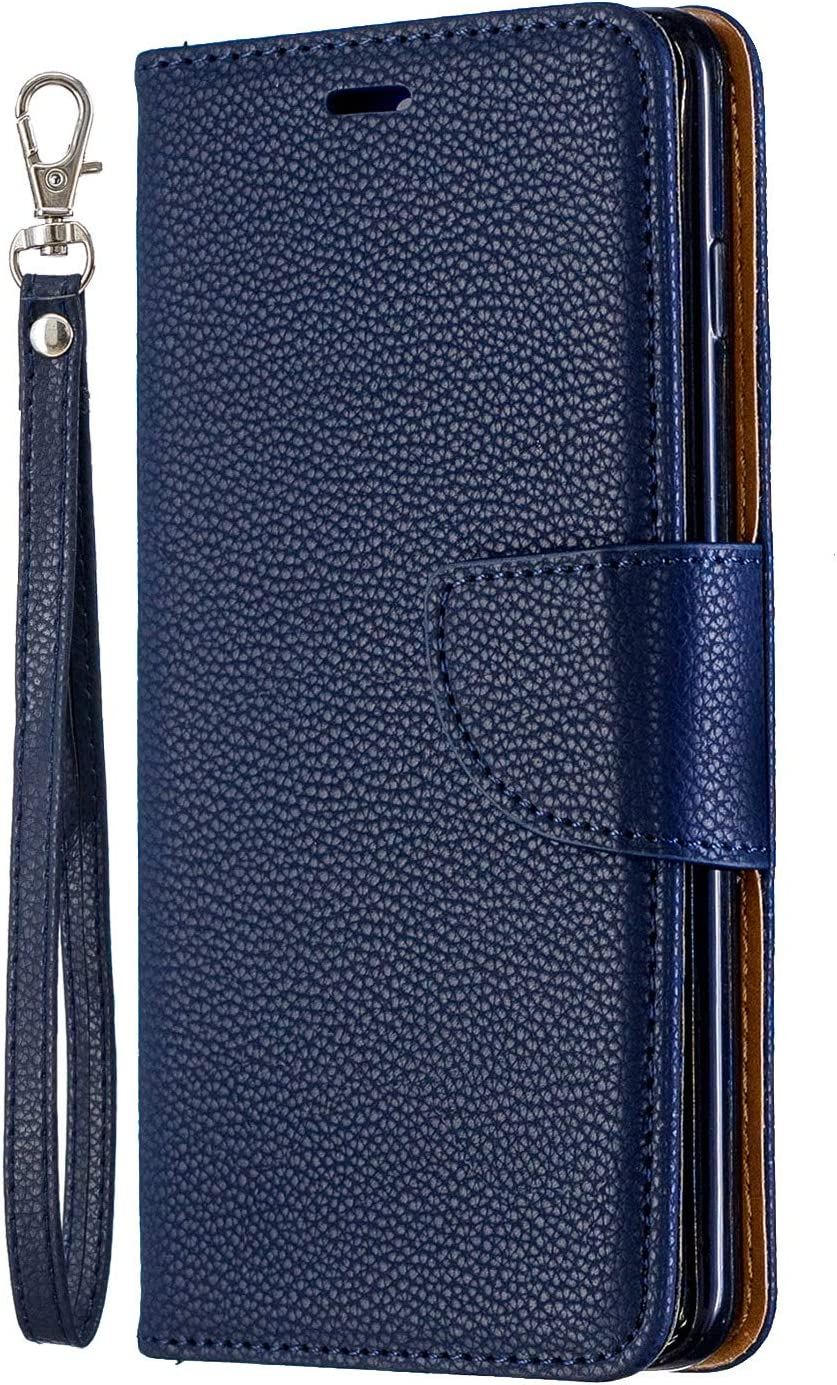 Luxury PU Leather Wallet Case for Samsung Galaxy S10 Plus,Flip Folio Case for Samsung Galaxy S10 Plus,Moiky Blue Multifunctional Magnetic Kickstand Case With Wrist Strap and ID/&Credit Cards Slots
