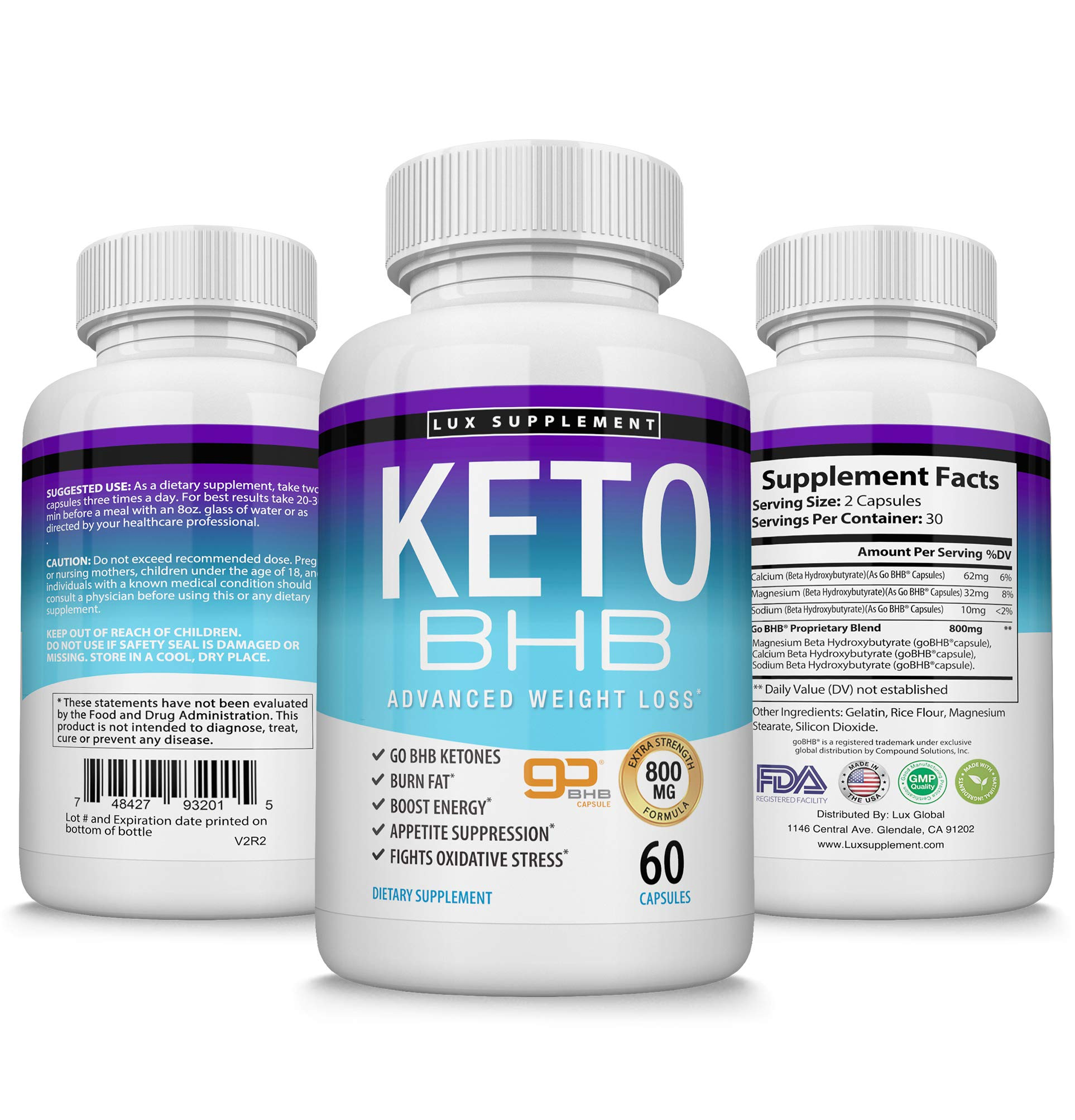Keto Pills Advanced Weight Loss BHB Salt - Natural Ketosis Fat Burner Using Ketone & Ketogenic Diet, Boost Energy While Burning Fat, Fast & Effective Perfect for Men Women, 60 Capsules, Lux Supplement by Lux Supplement (Image #2)