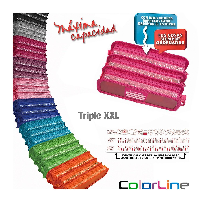 Colorline 58611 - Estuche Portatodo Triple XXL con Fuelle Expandible de Gran Capacidad. Con Indicadores de uso Impresso en cada Apartado. Color Azul ...