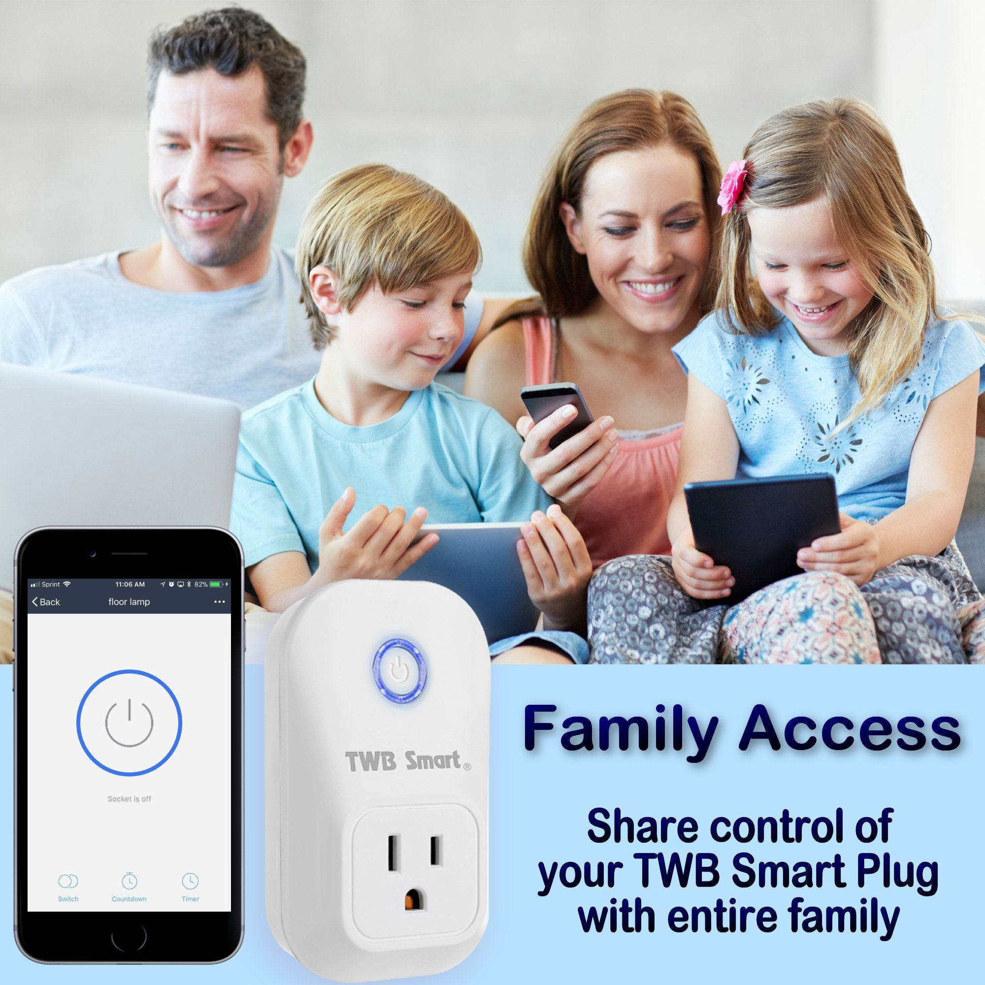 TWB Smart Wi-Fi Smart Plug, Compatible with Alexa and Works with Google Home. Smart Home Electrical Outlet Timer Compatible with Amazon Echo Dot Accessories. For Home Automation (2-Pack) by TWB Smart (Image #5)