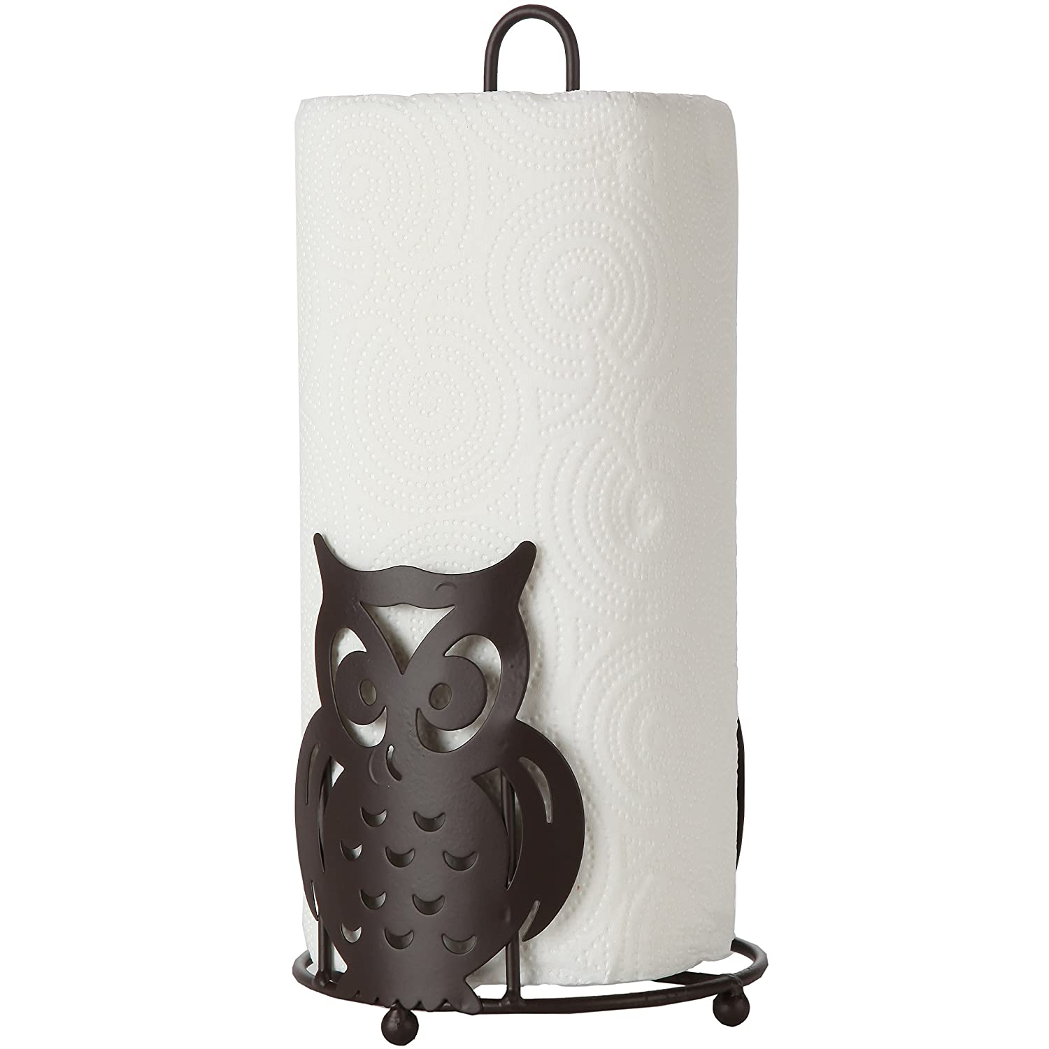 Home-X Bronze Paper Towel Holder with Owl Design