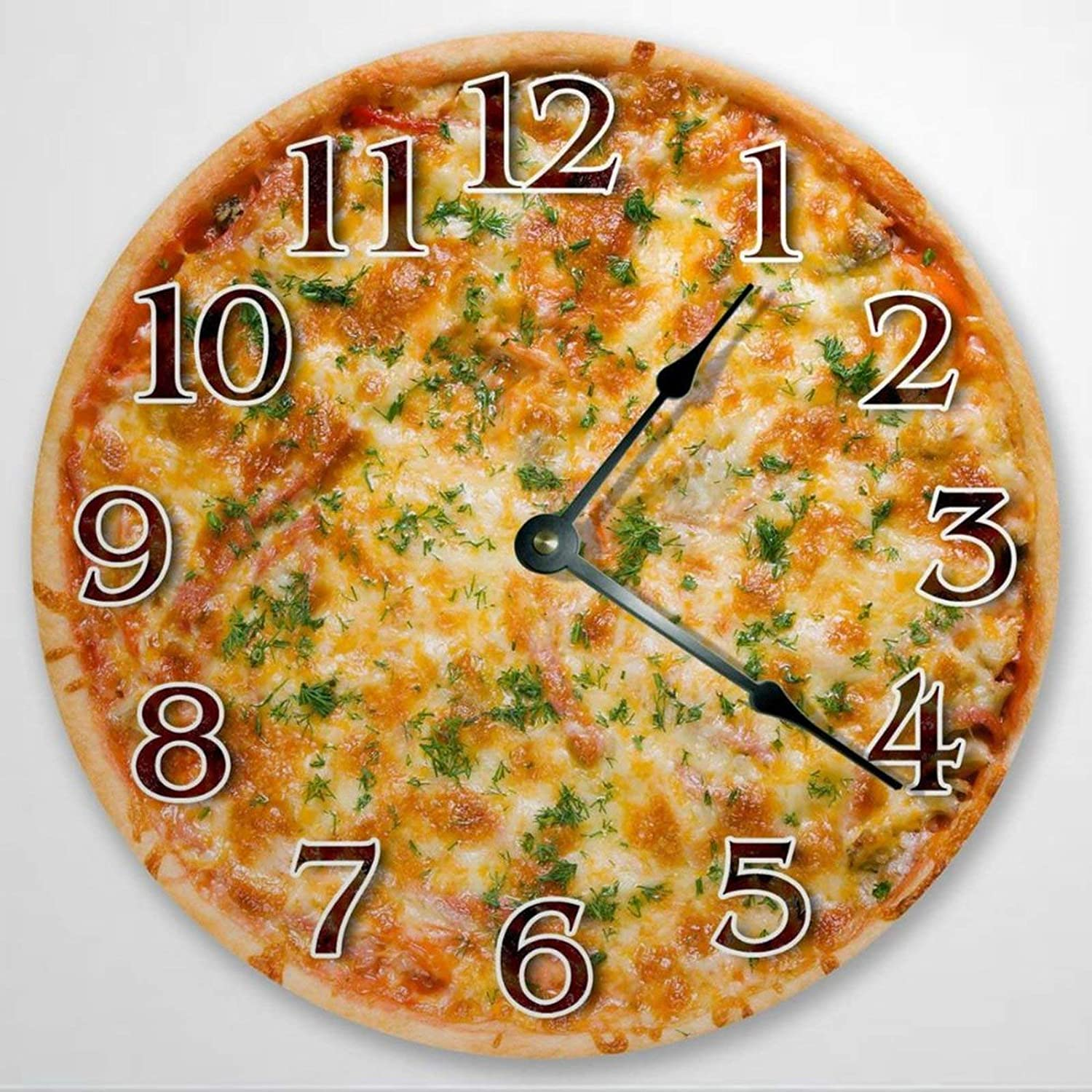 Cheese Pizza Wooden Wall Clock Silent Non Ticking Kitchen Clock 12 Inch Battery Operated Round Easy to Read Food Clock for Home Office School