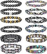 CASSIECA 12 Pcs Hematite Magnetic Bracelet for Men Women Reiki Bracelet