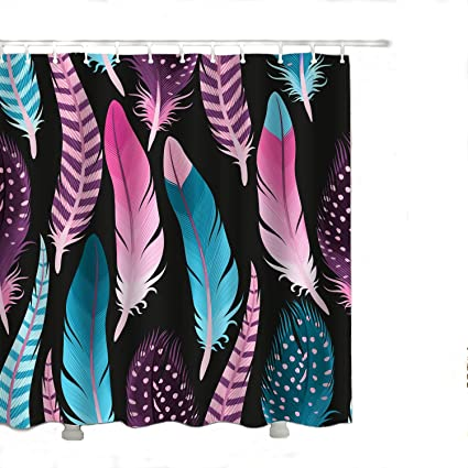 Alicemall Pink And Blue Feather Prints Colorful Black Shower Curtain Set Waterproof Polyester Fabric Bath
