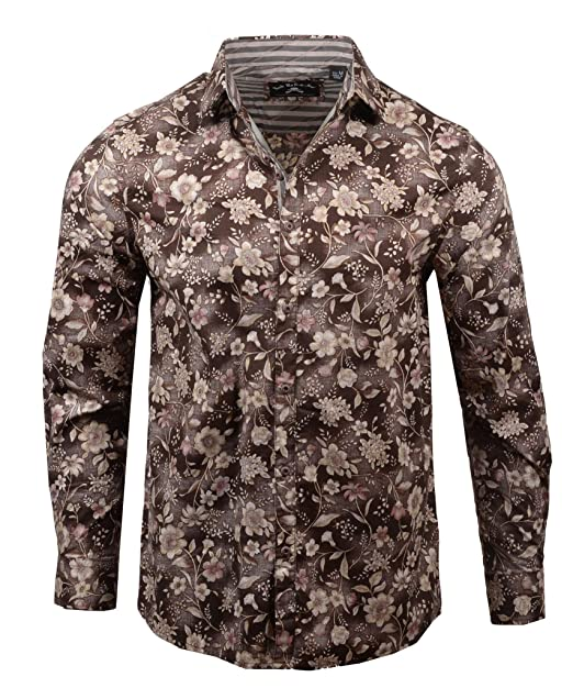 Men's 'Sweet Home' Long Sleeve Button Down Floral Brown Shirt 437