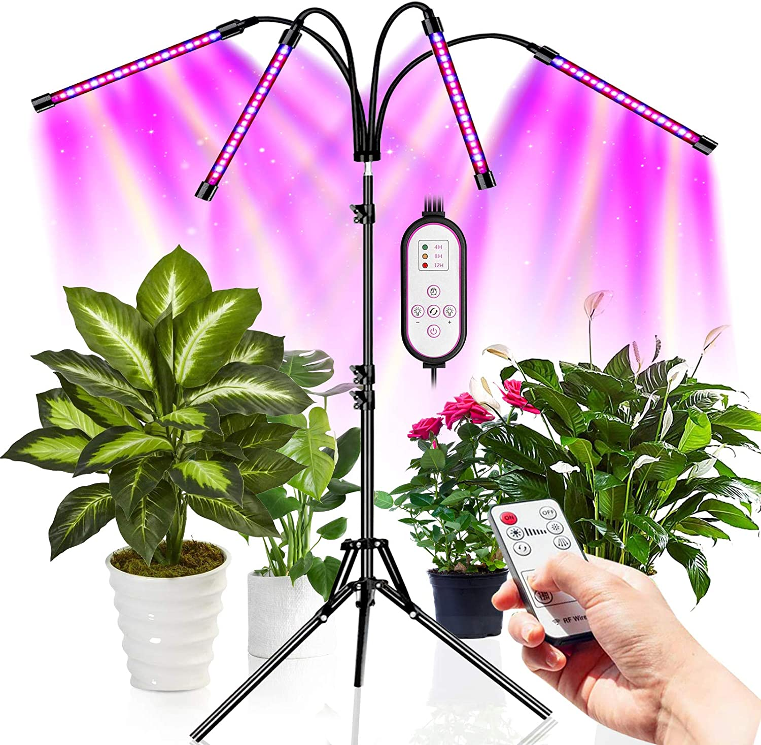 Grow Light, Led Grow Lights for Indoor Plants Full Spectrum Plant Light with Tripod Stand Adjustable 15-55 inch 80 LED Plant Lamps for Succulent and Seeding