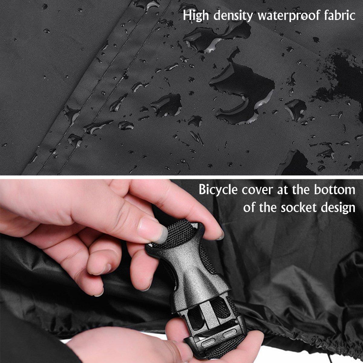 190x65x98CM Copri Bicicletta Copertura Bici Antipolvere Anti-UV 190T Alta Qualit/à Telo Protettivo per Bici Mopalwin Telo Copribici Impermeabile Nero