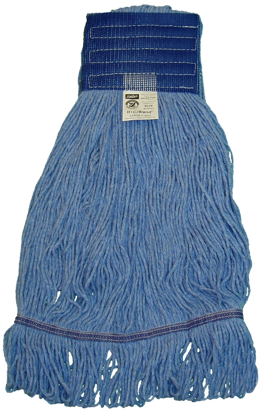 Zephyr 28253 HC/Blend Blue 4-Ply Yarn Large Health Care Loop Mop Head with 5'' Mesh Wide Band (Pack of 12)