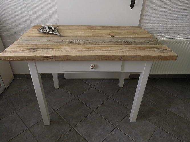 Alter Tisch Esstisch mit Schublade Bauholz Shabby: Amazon.de: Handmade
