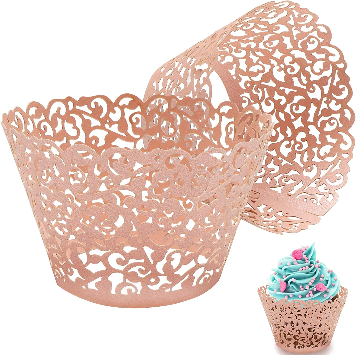 100Pcs Cupcake Wrappers Artistic Bake Cake Paper Filigree Little Vine Lace Laser Cut Liner Baking Cup Wraps 20% OFF £3.99 @ Amazon