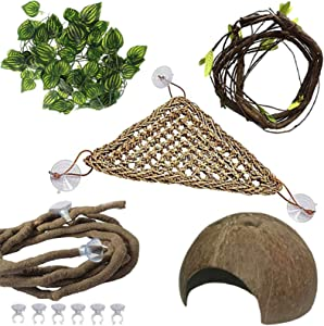 PINVNBY Bearded Dragon Tank AccessoriesLizard Habitat HammockReptile Natural Seagrass Coconut Shell Toy Jungle Climber Bendable Vines Leaves Decor for Climbing Snakes Hermit Crabs Gecko orChameleon