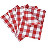 VEEYOO 14 x 20 inch (36 x 51 cm) 100% Cotton Kitchen Dish Towel Set of 4 Gingham Check Tea Cloth, Machine Washable, Ultra Absorbant, Red & White