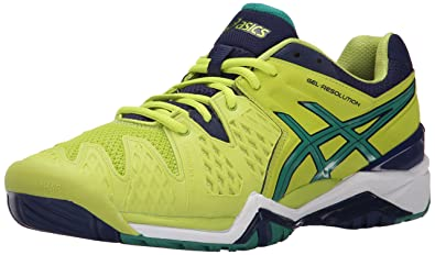 ASICS Men's Gel-Resolution 6 Tennis Shoe, Lime/Pine/Indigo Blue,