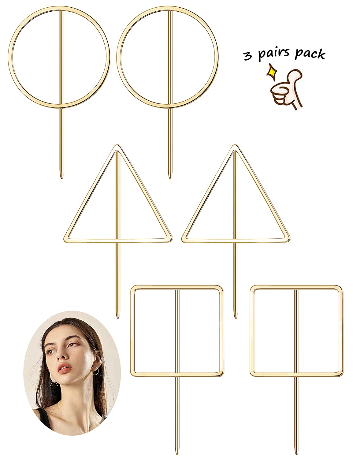 Finrezio 3 Pairs Geometric Earrings for Women Girls Gold Plated Simple Round/Square/Triangle Earrings set B07FTDYVBL_US