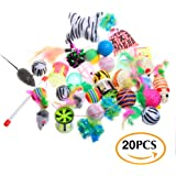 Cat Toys Variety Pack - Assorted Pieces Cat Wand, Ball Toys, Teaser Mice, Bells, Crinkle Balls, Catnip Toys - Gifts for Cats Kitten Best Kitty Toys Exercise