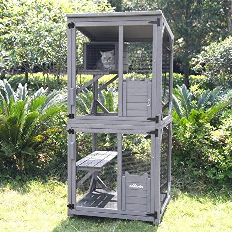 Cat Cage Wooden Indoor Outdoor Cat House Large Enclosure With Run On Wheels 70 9 Upgraded Version Catio With Reinforcement Strip Waterproof Roof Grey Kitchen Dining