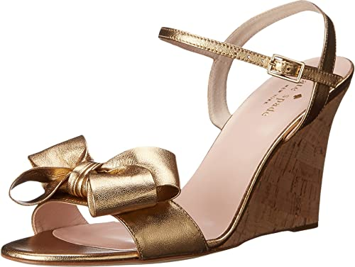 94767886bd79 kate spade new york Women s Iballa Old Gold Metallic Nappa Gold Fleck Cork  Covered Heel