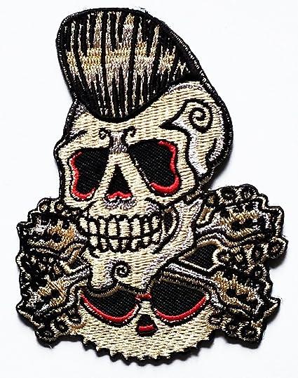 08642aeb5d923 Amazon.com: Nipitshop Patches Rockabilly Old School Skull Ghost ...