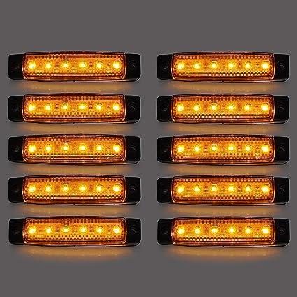 Led Seitenmarkierungsleuchten 10 Stücke Led Lkw Seitenlichter 6 Smd Led Seitenmarkierungs Kontrollleuchte Vorne Hinten Seitenlicht Positionslampen 12 V Für Auto Gelb Auto