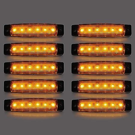 Led Seitenmarkierungsleuchten 10 Stücke 24v Led Lkw Seitenlichter 6 Smd Led Seitenmarkierungs Kontrollleuchte Vorne Hinten Seitenlicht Positionslampen Für Auto Gelb Auto