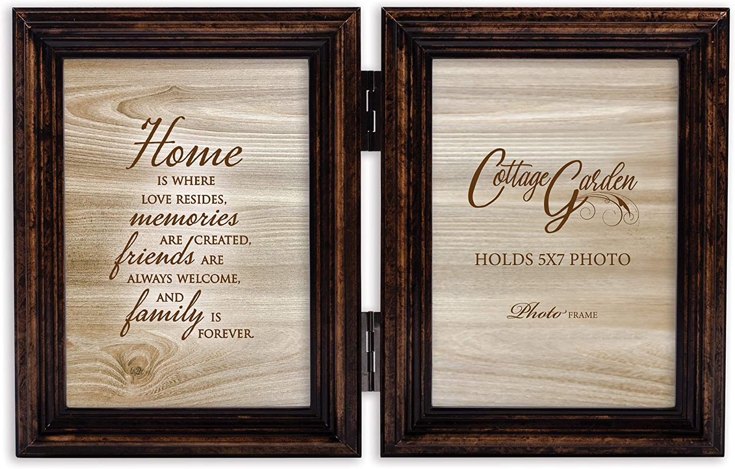 Cottage Garden Home Love Friends Amber Goldtone 5 x 7 Wood Hinged Double Tabletop Photo Frame