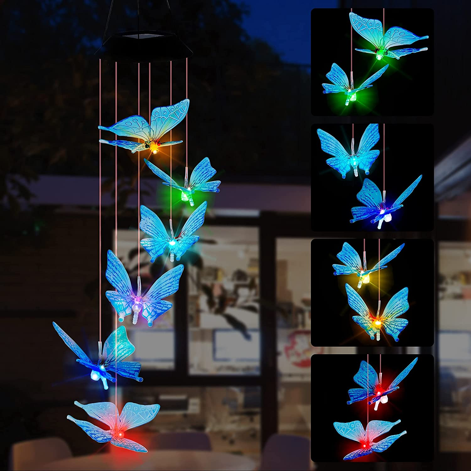SAND MINE Solar Wind Chimes, Outdoor Solar Butterfly Wind Chimes, Color Changing LED Mobile Wind Chime, Outdoor Waterproof LED Solar Light for Porch Deck Garden Patio Decor, Blue