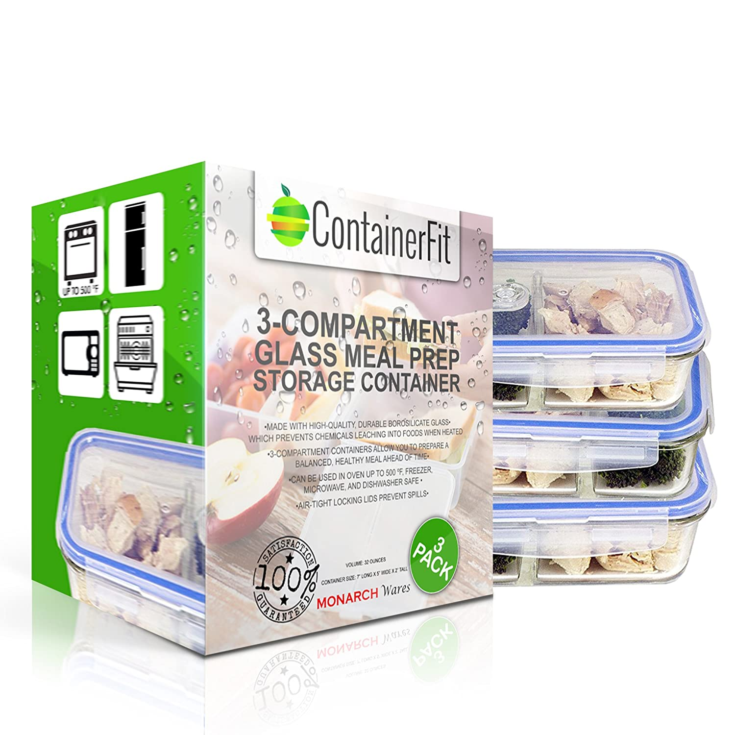 Amazon.com: [3 PACK, 32oz] ContainerFit   3 Compartment Glass Meal Prep  Containers   Food Storage Containers With Airtight Locking Lids   Portion  Control ...