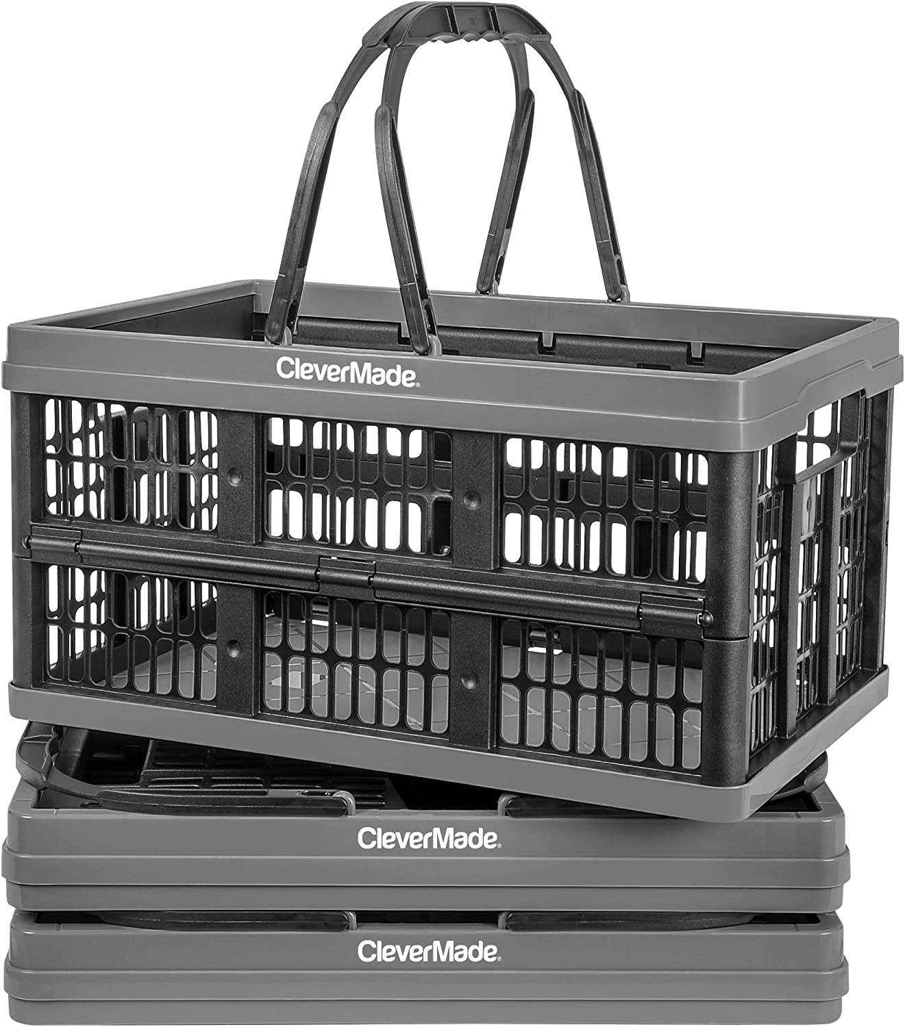 CleverMade Collapsible Plastic Grocery Shopping Baskets: Small Folding Stackable Storage Containers/Bins with Handles, Pack of 3, Graphite/Black