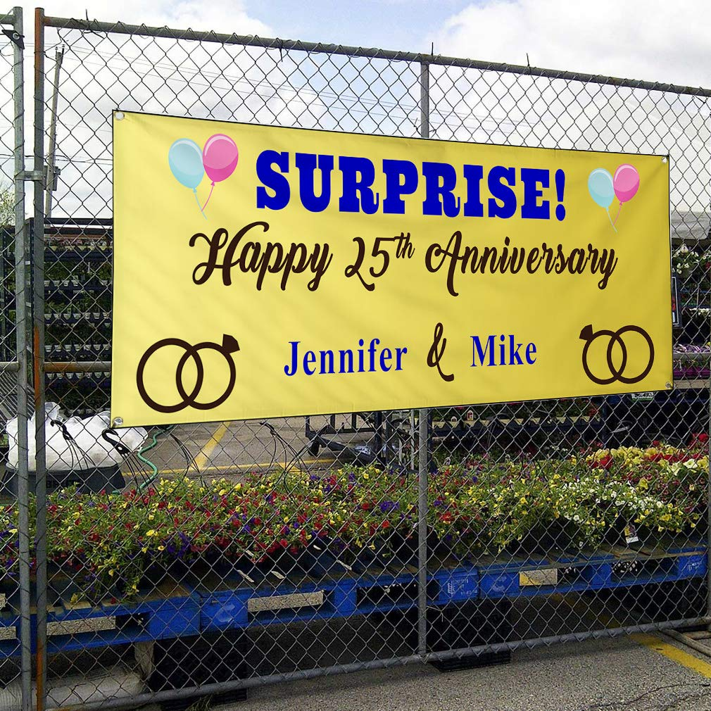 Happy Anniversary Wife Names A Lifestyle Outdoor Yellow 10 Grommets 60inx144in One Banner Custom Vinyl Banner Sign Multiple Sizes Surprise