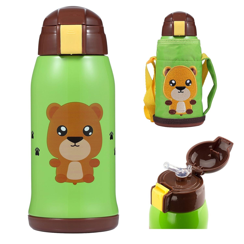 OBB動物ボトル|ステンレススチール17オンス断熱ウォーターボトルストローキャップとスリングポーチfor Kids B0788CMQ9H クマ