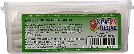 King Regal Lápices Nata Fresa - estuche 200 unidades: Amazon.es: Alimentación y bebidas