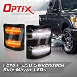 Optix 2008-2016 Ford F-250 Smoked LED Side Mirror Lights - F250 LED Side Marker Lights - Switchback White LED Turn Signal Amber