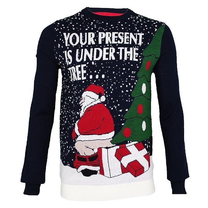 Mens Adults Novelty Naughty Bad Santa Funny Chimney Christmas Jumpers Xmas UK