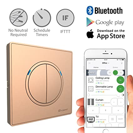 yoswit smart 2-way switch 2 gang - no neutral wire required, control  lighting