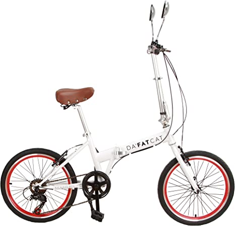 DaFatCat Bicicleta Plegable de diseño Kickass 80s, 6 velocidades Shimano, neumáticos Kenda 20